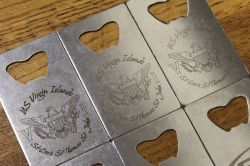 Laser engraved Credit Card Bottle Openers, Please Inquire if you would like some.